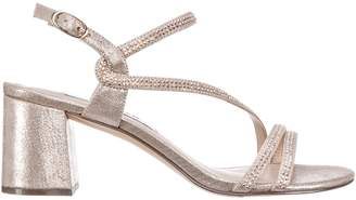 Nina Embellished Matte Fabric Ankle-Strap Sandals