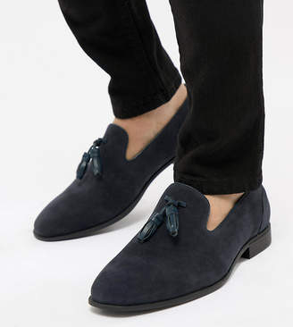 62d1921aefd Asos Design DESIGN Wide Fit tassel loafers in navy faux suede