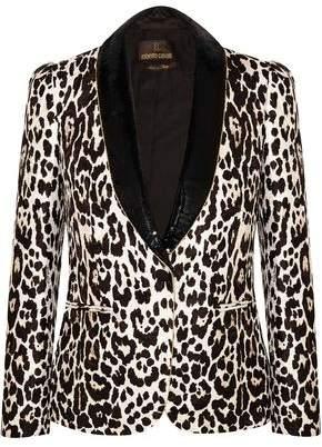 Roberto Cavalli Sequin-Trimmed Leopard-Jacquard Blazer