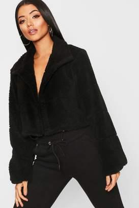boohoo Crop Fleece Puffer Jacket