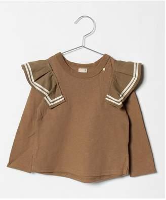 petit main (プティ マイン) - petit main ライン入りフリルつきTシャツ