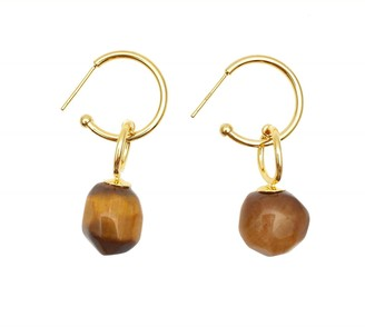 Farra Tiger Eye Stones Simple Earrings