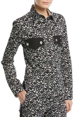 Calvin Klein Daisy-Print Long-Sleeve Button-Front Top