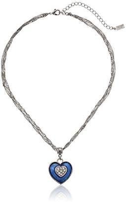 Swarovski 1928 Jewelry Gold-Tone White Enamel Heart with Crystal Pendant Necklace