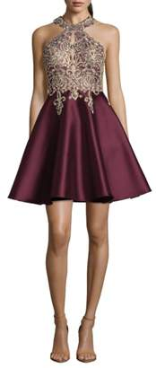 Xscape Evenings Embellished Embroidered Mikado Party Dress