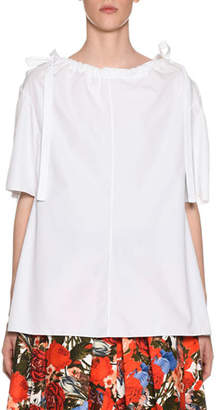 Marni Ruched Bateau-Neck Short-Sleeve Cotton Poplin Blouse