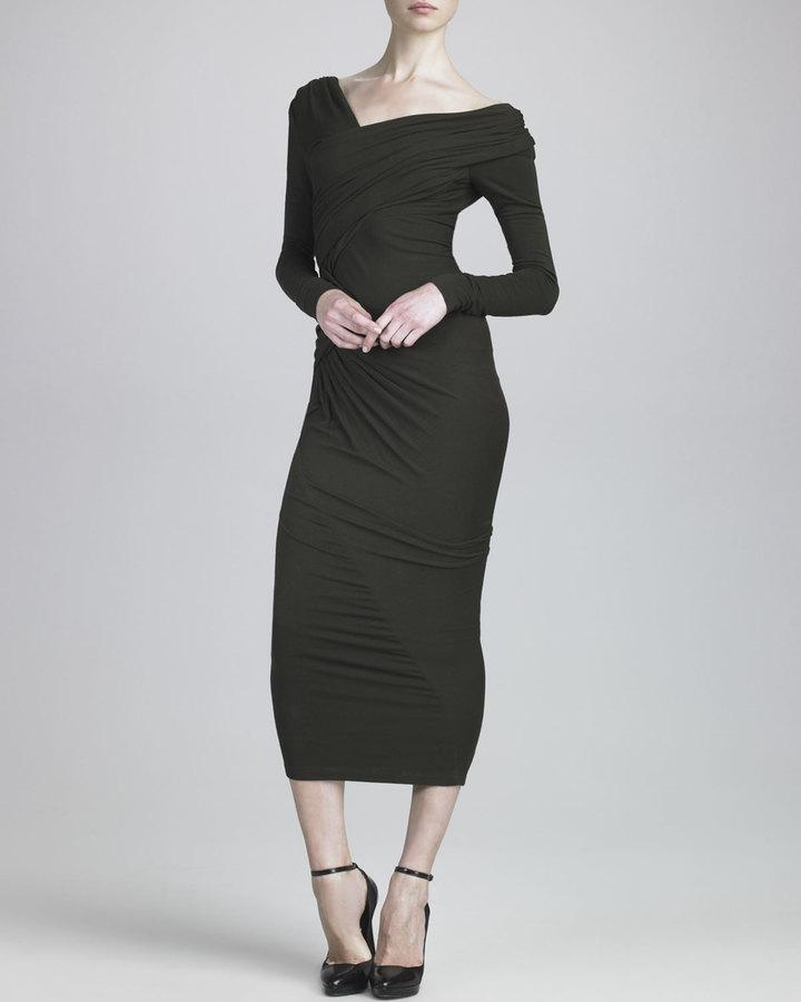Donna Karan Off-Shoulder Tea-Length Jersey Dress