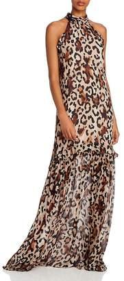 Rachel Zoe Tosca Leopard Print High Neck Gown