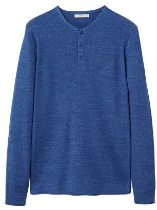Flecked henley sweater