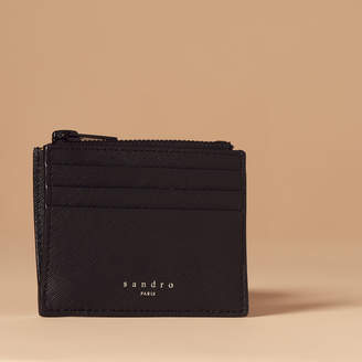 Sandro Saffiano leather Zipper card holder