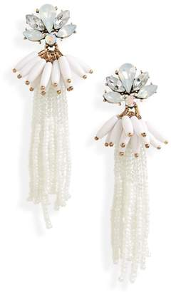 BP Crystal Flower Beaded Tassel Earrings