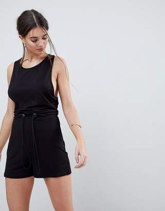 Asos DESIGN Minimal Jersey Romper with Racer Back