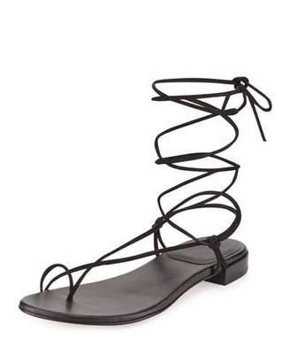 Stuart Weitzman Nieta Suede Lace-Up Flat Sandal, Black $335 thestylecure.com