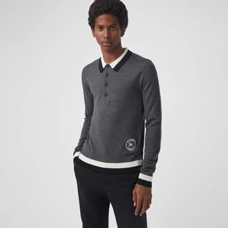 Burberry Stripe Detail Merino Wool Long-sleeve Polo Shirt