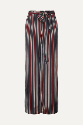 Frame Easy Striped Charmeuse Wide-leg Pants - Navy