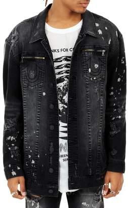 True Religion Turner Oversized Distressed Trucker Jacket