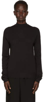 Rick Owens Black Biker Mock Neck Sweater
