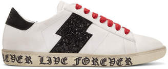 Amiri White and Black Live Forever Glitter Viper Sneakers