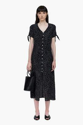 Genuine People Silk Polka Dot Button Down Midi Dress