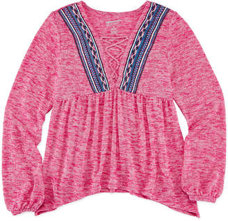 Arizona Long-Sleeve Puff-Embroidered Lace-Up Knit Top - Girls 7-16
