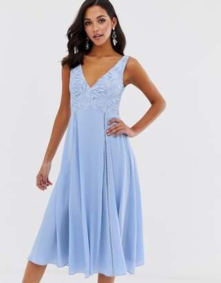 Asos Design DESIGN midi sleeveless dress with lace bodice