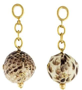 Faraone Mennella 18K Diamond & Snakeskin Ball Drop Earrings