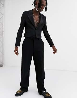 Asos Design DESIGN skinny crop tuxedo blazer with wide satin lapel in black