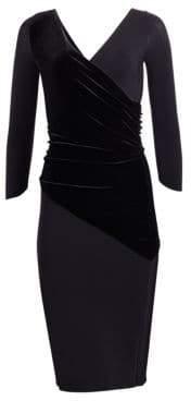 Chiara Boni Erendira Velvet MM Long Sleeve Sheath Dress