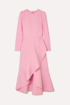 Oscar de la Renta Asymmetric Wool-blend Midi Dress - Pink