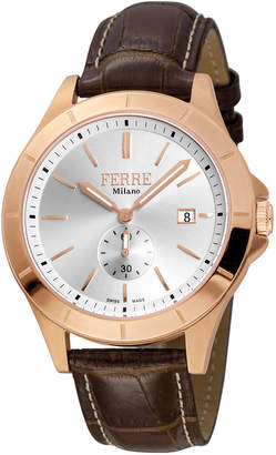 Ferré Milano Men's 43mm Stainless Steel Date Sub-Seconds Diver Watch with Leather Strap, Rose/Brown