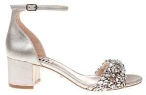 Badgley Mischka Vega II Embellished Leather Ankle-Strap Sandals