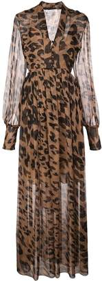 Oscar de la Renta leopard print maxi dress