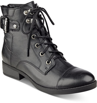 G by GUESS Fella Lace-Up Combat Booties $69 thestylecure.com