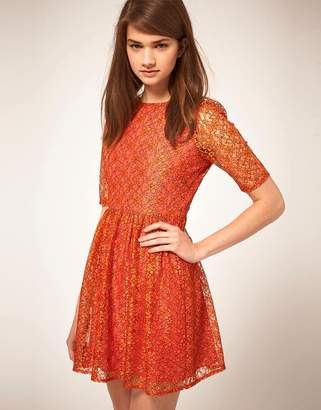 Asos Design Lace Waisted Dress with Contrast Lining