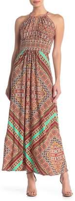 London Times Patterned Sleeveless Maxi Dress
