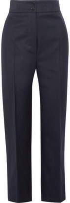 Burberry Wool-twill Straight-leg Pants - Navy