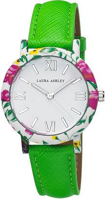 Laura Ashley Ladies Green Band Floral Bezel Watch La31003Gr $345 thestylecure.com