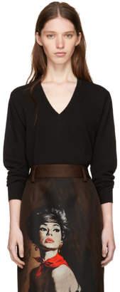 Prada Black Lambswool V-Neck Sweater