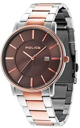 Police unisex Quartz Watch with Brown Dial Analogue Display and Two Tone Stainless Steel Bracelet 14496JSTR/13M