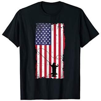 Fishing USA Flag Shirt (printed on back)