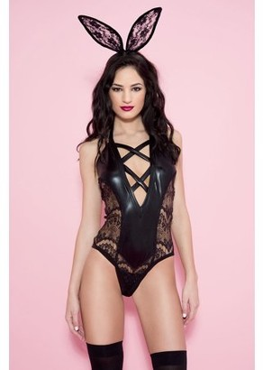 Music Legs Wet look halter teddy with side lace panels 80030-M