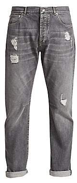 Brunello Cucinelli Men's Distressed Faded Jeans