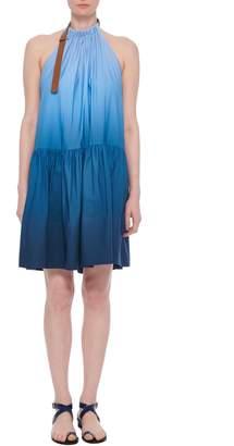 Tibi Dip Dye Halter Short Midi Dress