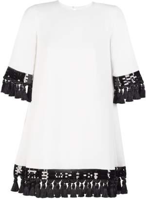 Mestiza New York Shimmy Shimmy Tassel Dress In Ivory And Black
