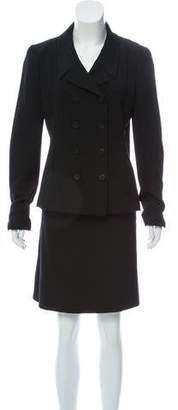 Chanel Double-Breasted Wool Skirt Suit