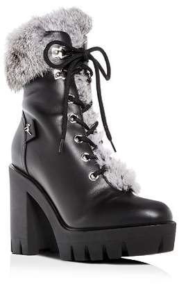 Giuseppe Zanotti Women's Gintonic Leather & Rabbit Fur Block-Heel Platform Combat Boots