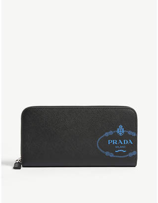 Prada Logo saffiano leather zip purse