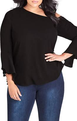 City Chic Free Love Bell Sleeve Top