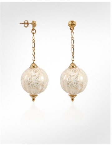 Antica Murrina Dream - Murano Glass Ball Gold Plated Drop Earrings