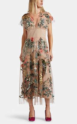 Fendi Women's Floral-Embellished Tulle Dress - Cream